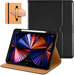 DTTO Compatible with iPad Pro 12.9 Case 2021, Multiple Viewing Angles Cover [Supports Pencil 2nd Gen Charging] with Pencil Holder - Auto Wake/Sleep for iPad Pro 12.9 Inch 5th Generation, Black