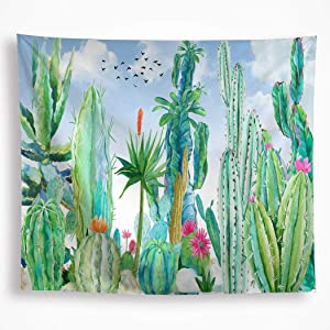 """Cactus Floral Tapestry Wall Hanging Tropical Watercolor Green Cacti Desert Plant Flowers with Blue Sky Birds Summer Wall Art Blanket Decor for Dorm Bedroom Livingroom 51""""x59"""""""