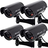 4 PACK Waterproof Dummy Fake Surveillance Security CCTV Dome Camera with Record LED Light Indoor & Outdoor, Black