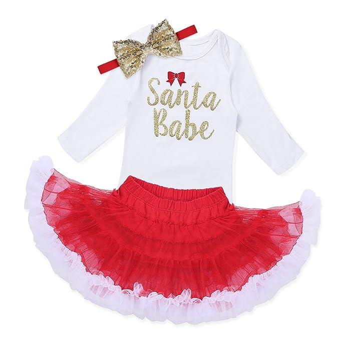 FEESHOW Conjunto bebé navidad niña Vestido Falda Tutú Disfraces Navidad Peleles Mameluco de manga larga 3PCS para Bebé niña Rojo Y Blanco 9 meses: ...