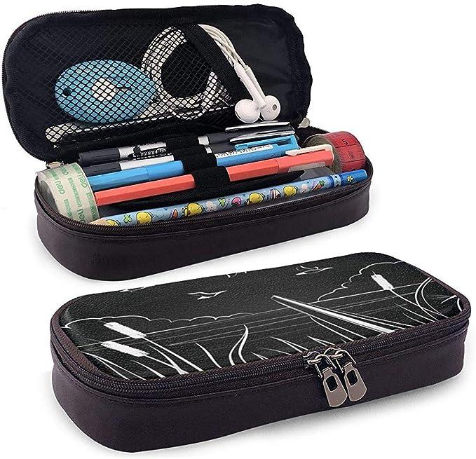 Caza de patos con una caja de lápices de cuero de escopeta de doble cañón Bolsa de cosméticos de gran capacidad Bolsa de pluma: Amazon.es: Oficina y papelería