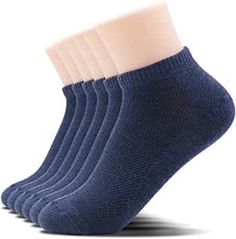 SOXTOWN Men's Comfy Low Cut Athletic Socks,6 Pairs Pure Color Durable No Show Casual Socks