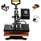 Hihone 5 in 1 Heat Press Machine, 12 x 10 inches Digital Sublimation 360 Degree Swivel Professional Heat Transfer for T-Shirt