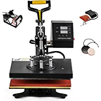 Hihone 5 in 1 Heat Press Machine, 12 x 10 inches Digital Sublimation 360 Degree Swivel Professional Heat Transfer for T…