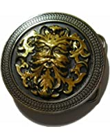 24k GOLD & SILVER PLATED GREEN MAN BELT BUCKLE + display stand