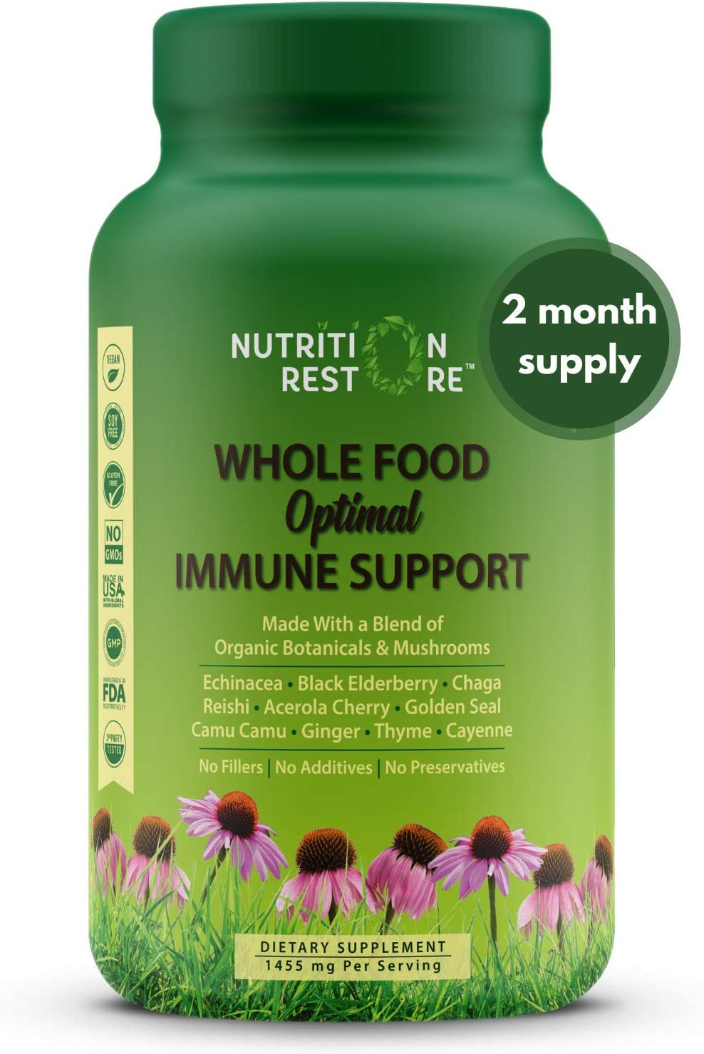 Whole Food Optimal Immune Support | Organic Ingredients | Echinacea, Elderberry, Chaga, Reishi, Acerola Cherry, Goldenseal, Camu Camu, Ginger, Thyme, Cayenne | Vegan | 60 Servings | 1455 mg/Serving
