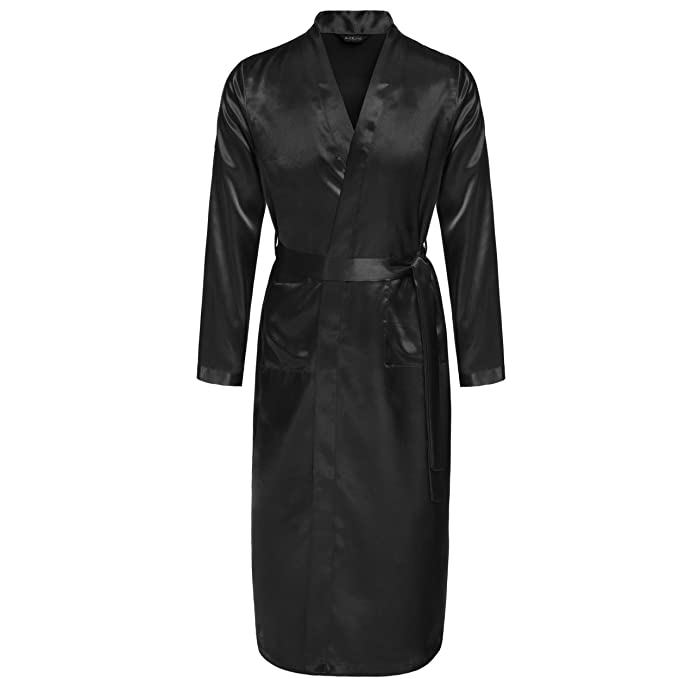 Elever Long Bathrobes Long Silk Satin Dressing Gown Bathrobes Men ...