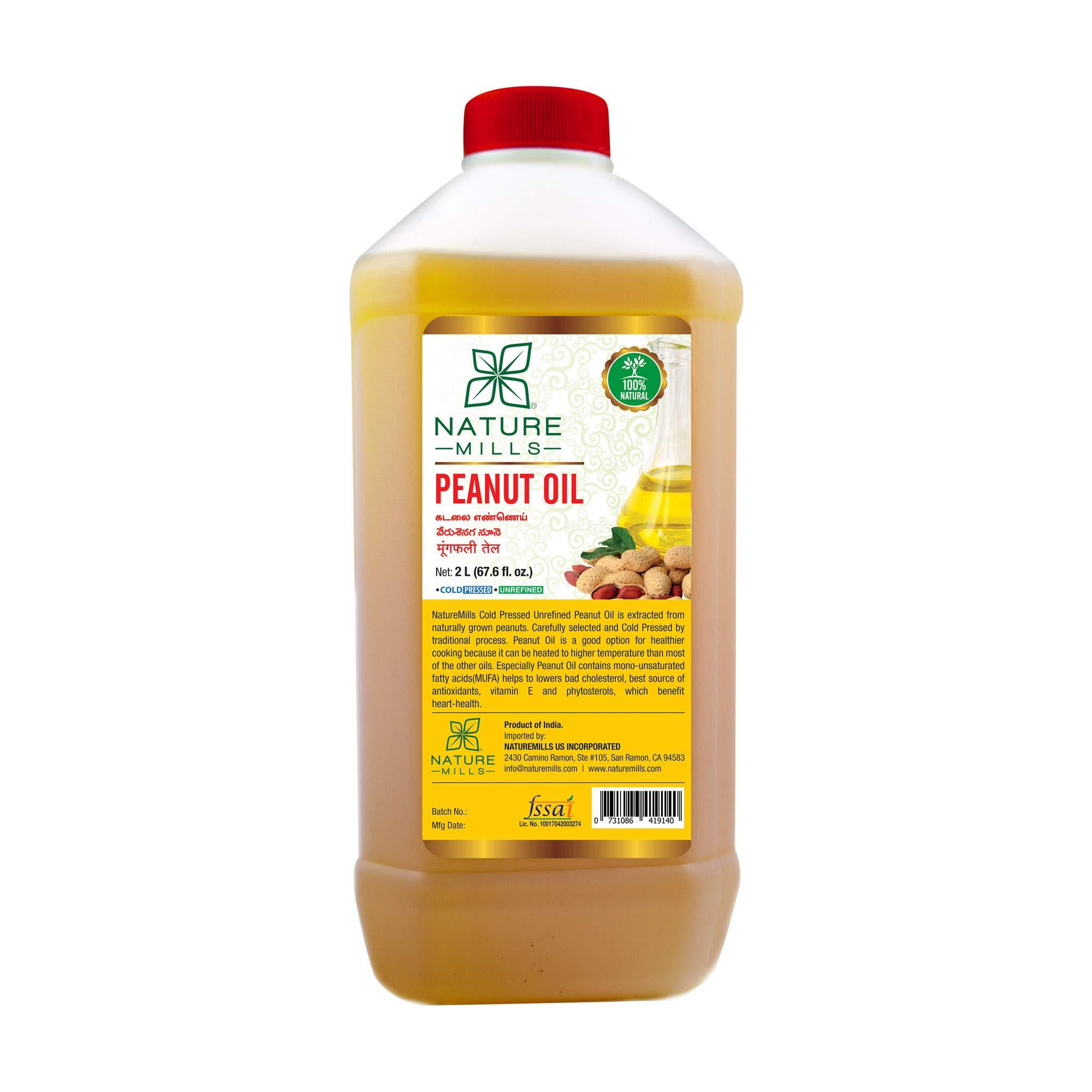 Natural Peanut Oil - 2 Liter - 67.6 Fl.Oz by NatureMills