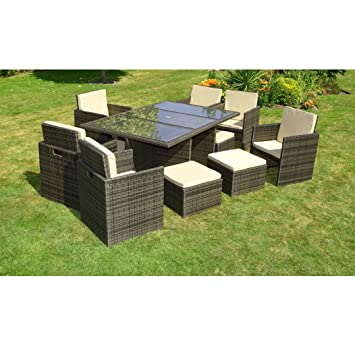 - Seater Cube Set Incl Footstools - Brown Rattan Garden