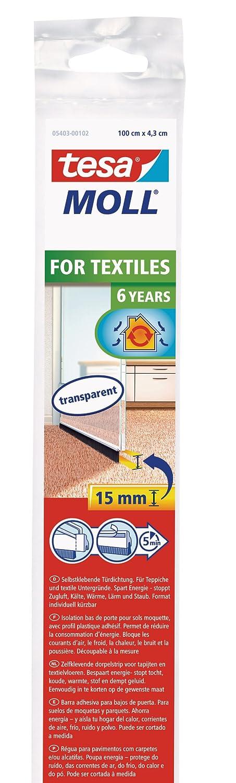 TESA 05403-00101-00 Barra bajo Puerta de PVC Cepillo para moquetas, 1 m x 43 mm, Color marró n, No Aplica Color marrón