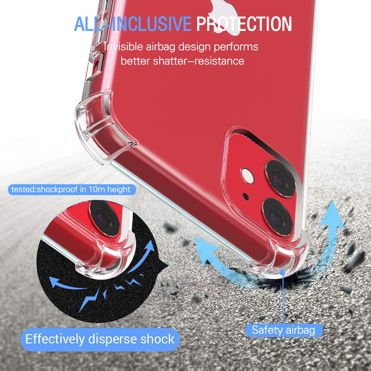3 Pack Tempered Glass Screen Protector Clear Slim Soft TPU Anti-Scratch Shock Absorption Cover Case with Reinforced Corner Bumpers for iPhone 11 6.1 inch 2019 ivoler Case for iPhone 11