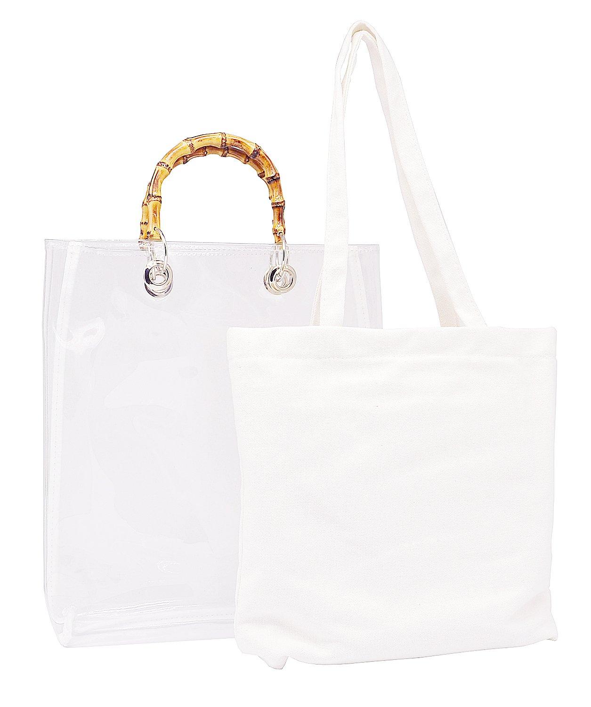 Miuco Women Clear Bamboo bag 2 in 1 PVC Transparent Handbags White