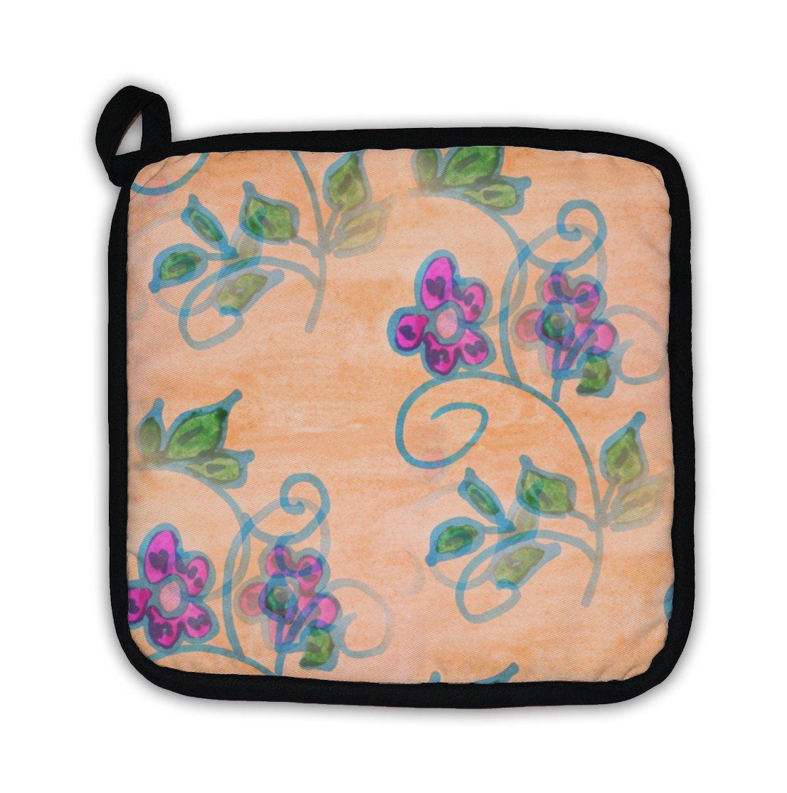 Gear New ''Purple Orange Leaves Watercolor Flowers Wall'' Pot Holder