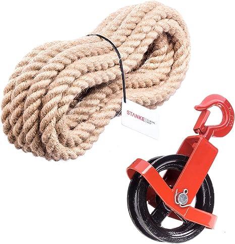 Seilwerk STANKE 125mm Umlenkrolle mit Haken Juteseil 8mm 15 Meter Seilwinde Seilzug Seilrolle Windenrolle Flaschenzug Baurolle Bau Aufzug SET