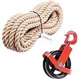 125mm Umlenkrolle mit Haken + Juteseil 20mm 30 Meter Seilwinde Seilzug Seilrolle Windenrolle Flaschenzug Baurolle Bau Aufzug SET