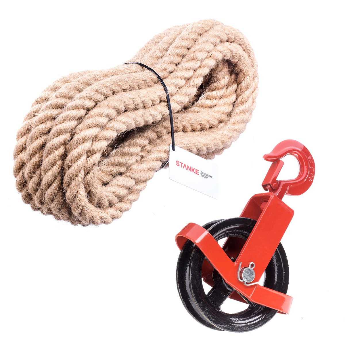 Jute Rope 35 m Seilwerk STANKE 180 mm Locking Pulley Block With A Hook 115 ft. 12 mm Turnstile Winch Roll Building