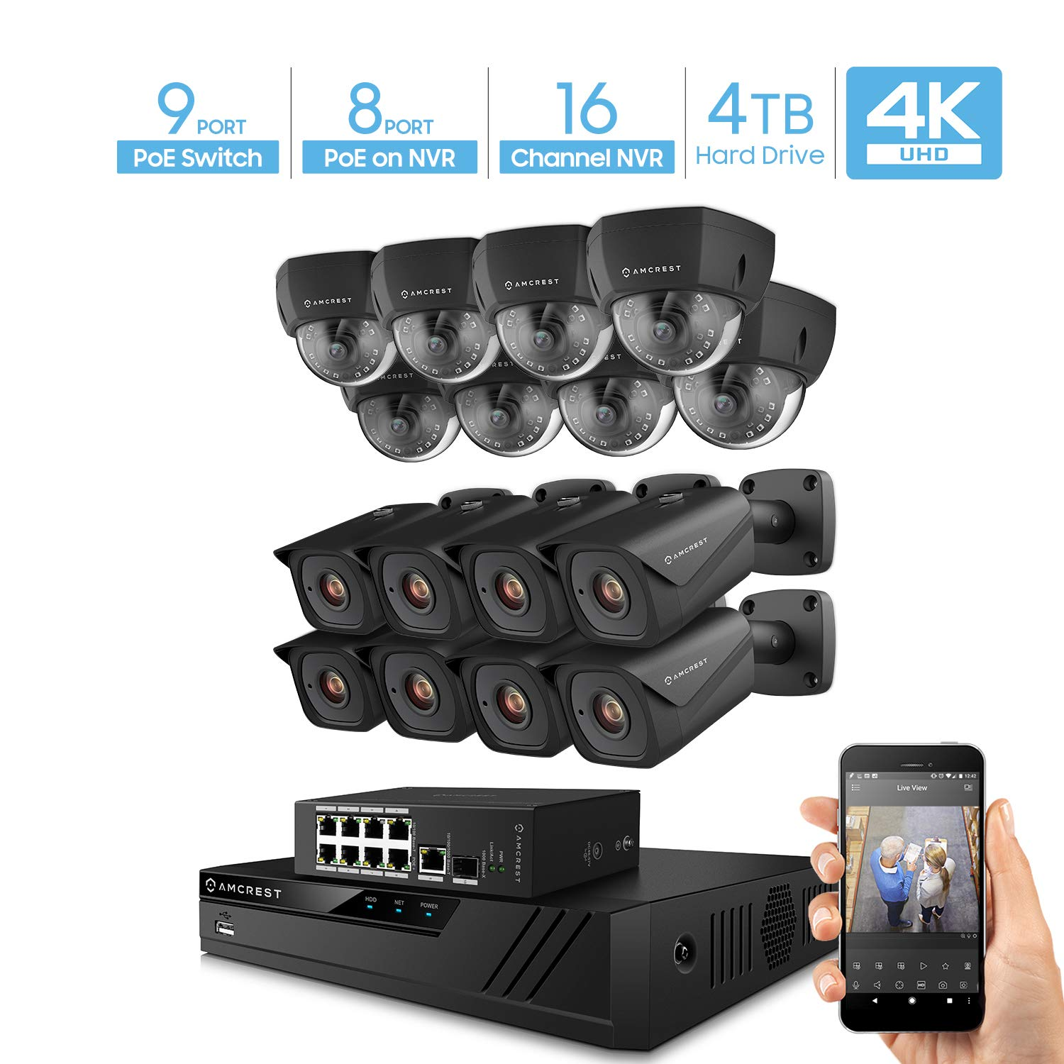 Amcrest 4K UltraHD Video Security Camera System w 4K 16CH PoE NVR, 16 x 4K Bullet Dome IP PoE Cameras, 9-Port PoE Switch w Gigabit Uplink, Pre-Installed 4TB HDD Supports up to 6TB Black
