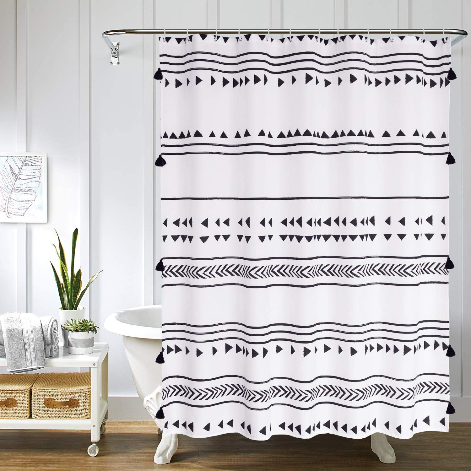 Uphome Black and White Boho Shower Curtain Fabric Triangle Stripes Geometric Tassel Shower Curtain Set with Hooks Chic Tribal Bathroom Accessories Heavy Duty and Waterproof, 72x78