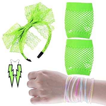 Womens 80s Fancy Dress Accessories Lace Headband Neon Earrings Fingerless Fishnet Gloves Bracelet for Fashion Retro 80s Party Outfit Costume Set Ladies and Girls Black4PCS
