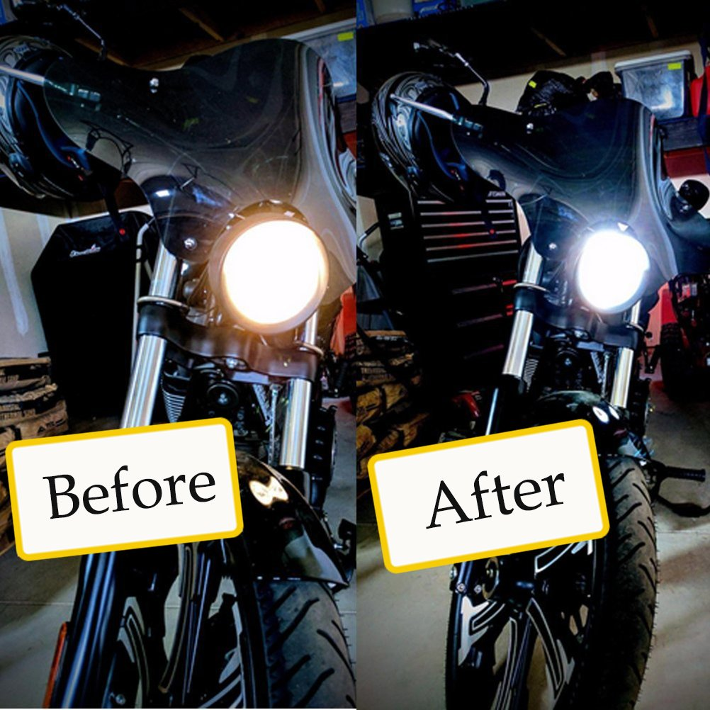 motocicleta scooter ciclomotor Ralbay H4 20W Hi//Lo COB LED Motor Bike ATV Faro Bombilla coche LED l/ámpara de techo headLight fog DRL bulb