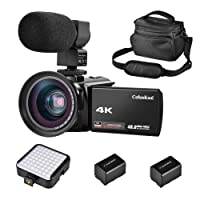 "CofunKool Camcorder Video Camera 4K IR Night Vision Ultra HD 60FPS 48MP 3.0"" IPS Touch Screen 16X Digital Zoom WIFI Digital Camera Recorder with External Microphone, Wide Angle Lens, LED Video Light, DV shoulder bags, 2*Batteries"