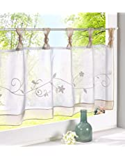 ZebraSmile Embroidered Window Tier Curtain Tier Semi Sheer Curtain Window Treatment Tab Top Voile Window Curtain Tier Half Window Curtains for Kitchen Bathroom Living Room Cafe Curtain 18X35.5In