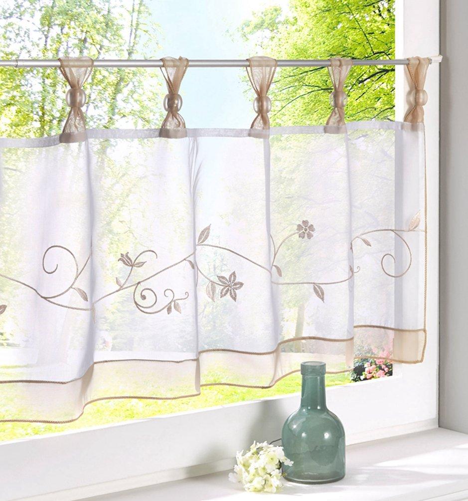 ZebraSmile Embroidered Window Tier Curtain Tier Semi Sheer Curtain Window Treatment Tab Top Voile Window Curtain Tier Half Window Curtains for kitchen Bathroom Living Room Cafe Curtain 18X35.5In LK512588987hui4590
