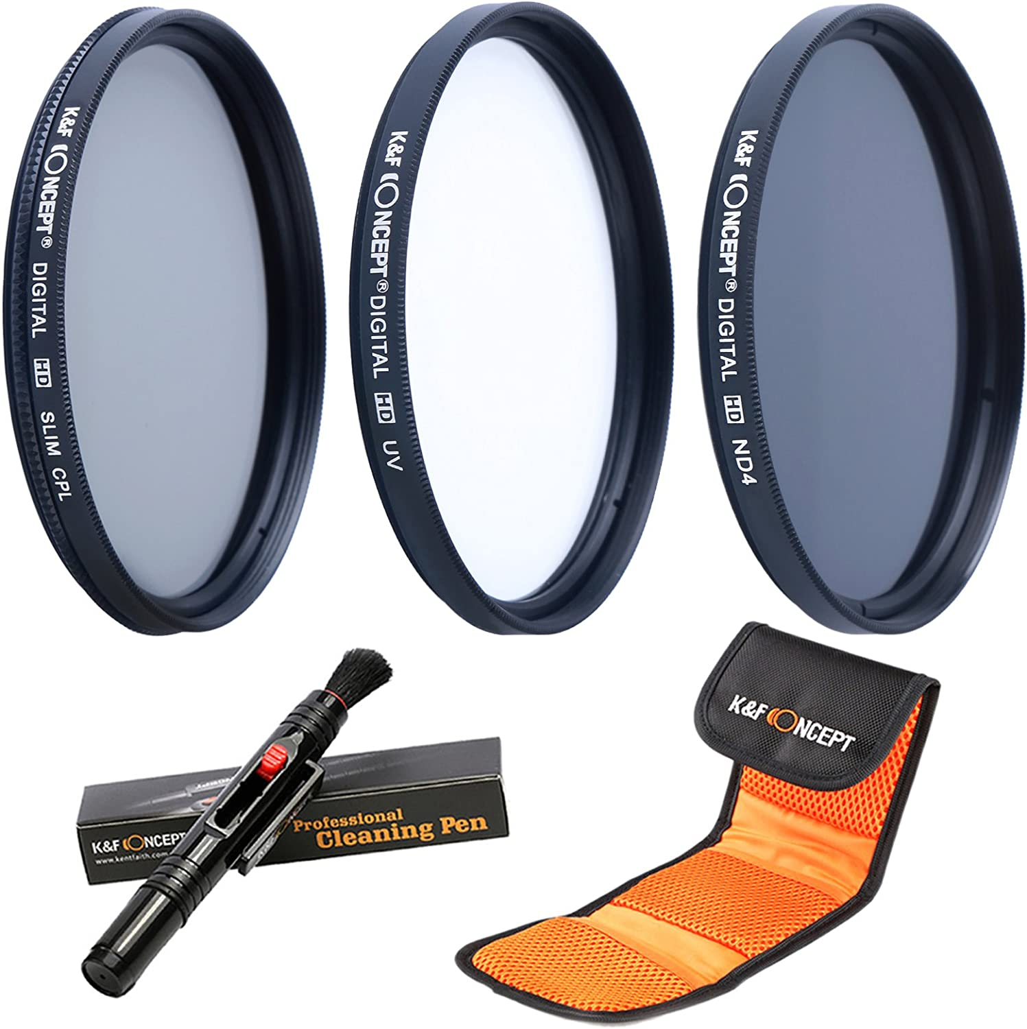 Cleaning Pen K/&F Concept 72mm UV CPL ND4 Neutral Density Len Accessory Filter Compatible with Canon Nikon DSLR Camera Filter Pouch