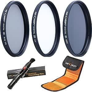 62MM UV CPL ND4 + Pluma de Limpieza + Bolsa para 3 Filtros, K&F Concept 62MM Kit Packs de Filtros UV Filtro Polarizador Filtro Densidad Neutra para Cámara Canon Nikon Sony Sigma