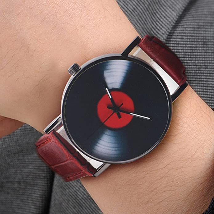 Amazon.com: Fashion Women Watches Retro Vinyl Records Design Leather Watch Analog Alloy Quartz Women Ladies Clock Casual Dress Reloj Mujer B: Jewelry