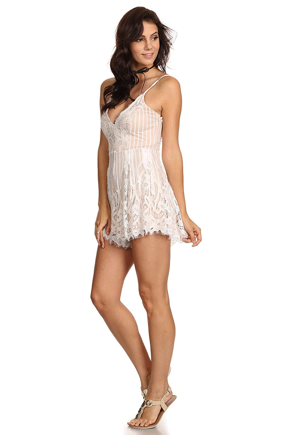 MeshMe Womens Odette - Laced Up Back Detail Floral Patterned Lace Romper