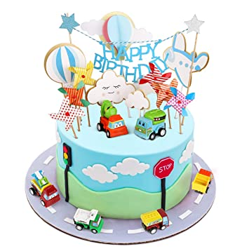 BBLIKE Toppers para Tartas, Topper de Pastel de Cumpleaños Coche + Avión + Molino de Viento + Globos de Aire Caliente + Nubes Decoraciones de Pastel, ...