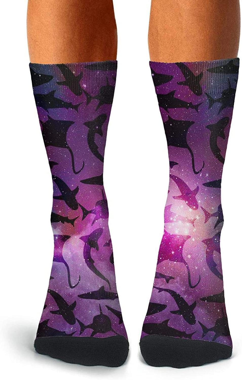 Mens Compression Socks Fin Shark Jaws Ocean Beach Summer Colorful Socks