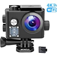 WiMiUS 4K Waterproof Action Camera with 2 Rechargeable Underwater Camera Batteries and Accessory Kits