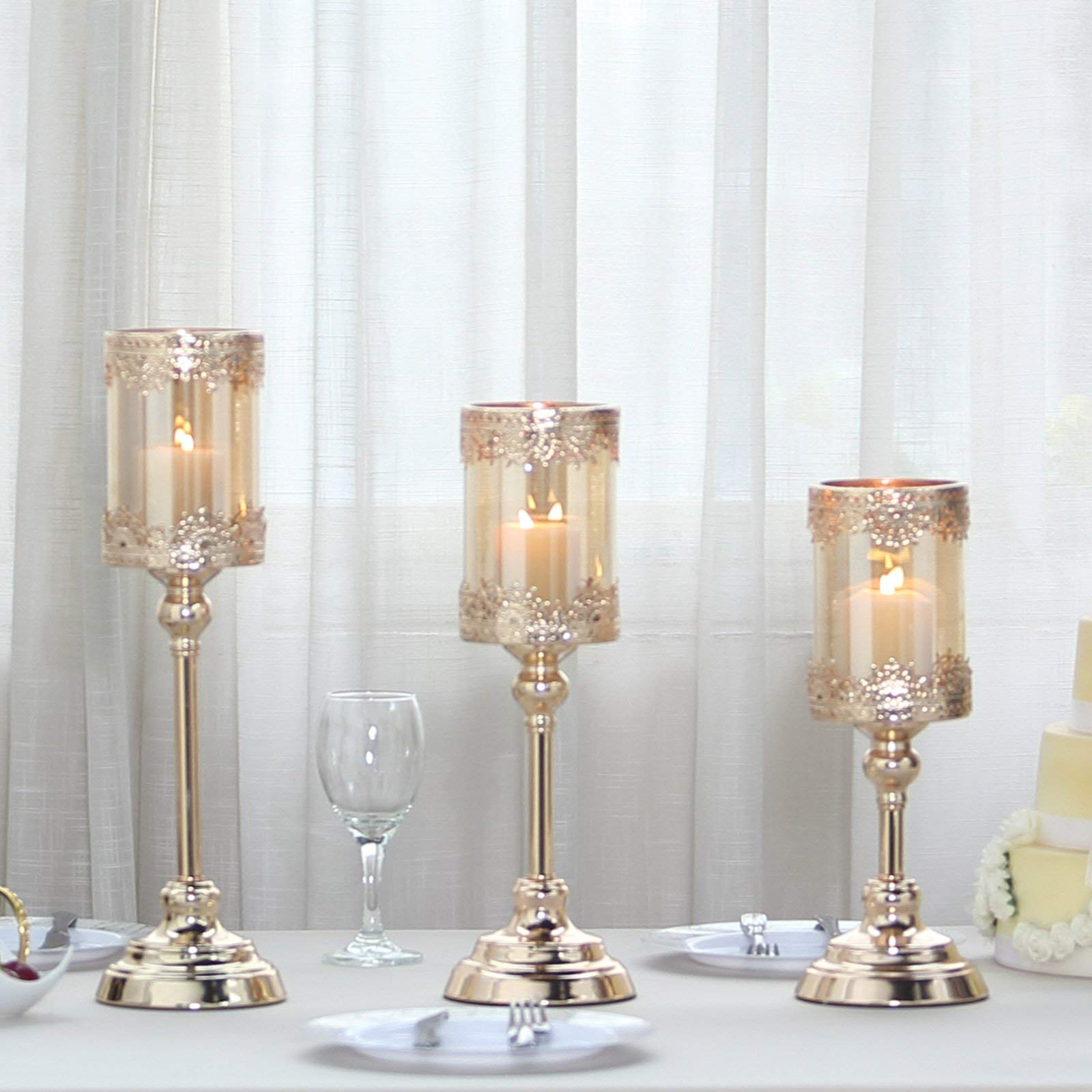 Efavormart Set of 3 | Lace Design Gold Amber Hurricane Glass Candle Holder with Glass Tube - 13''| 15''| 17''
