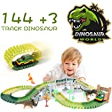 Dinosaur Toys,144 pcs Slot Car Race Flexible Tracks Toys,Create A Dinosaur World Road Racr for 3 4 5 6 7 8 Year & Up Old Boy Girls Best Gift Toys,Birthday Gifts for Kids