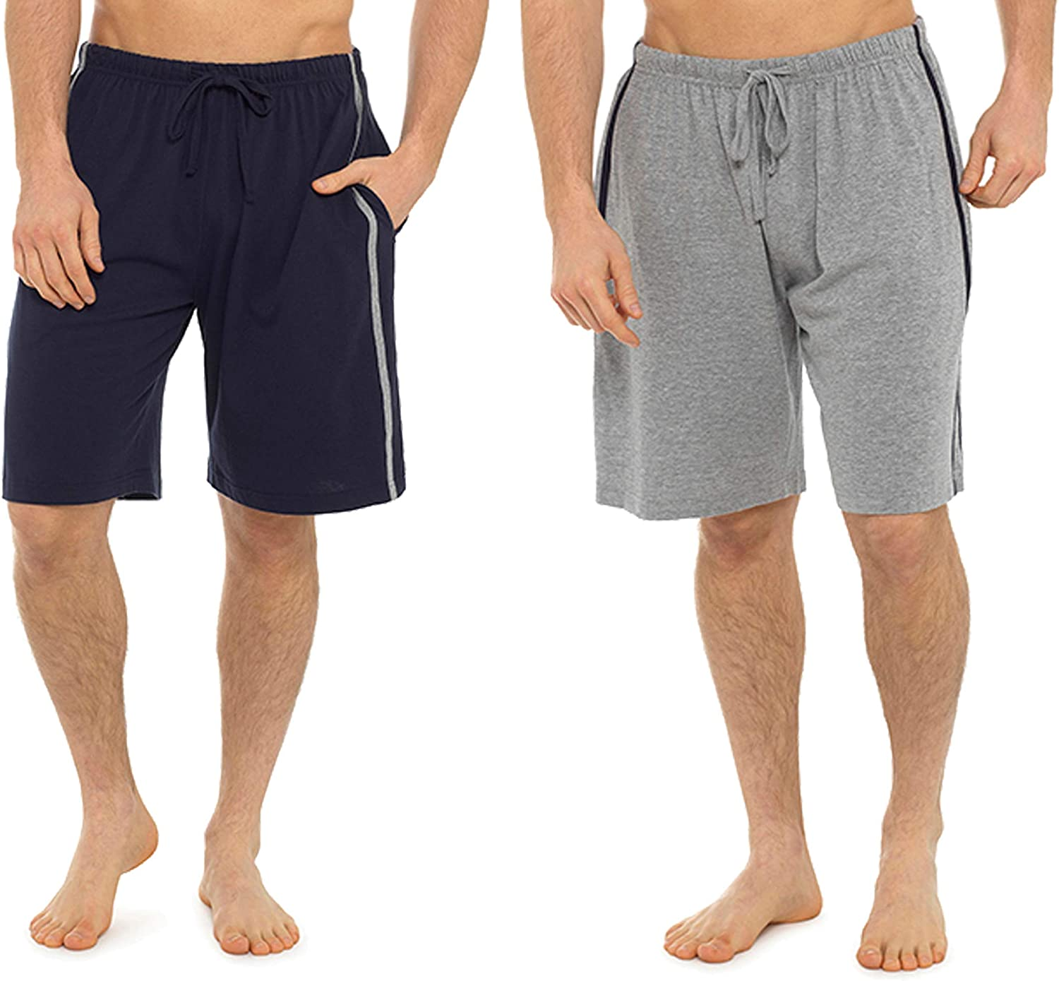 i-smalls Mens Pack of Two Contrast Side Stripes Jersey Lounge Shorts Pyjamas PJ Bottoms Nightwear with Eye Mask