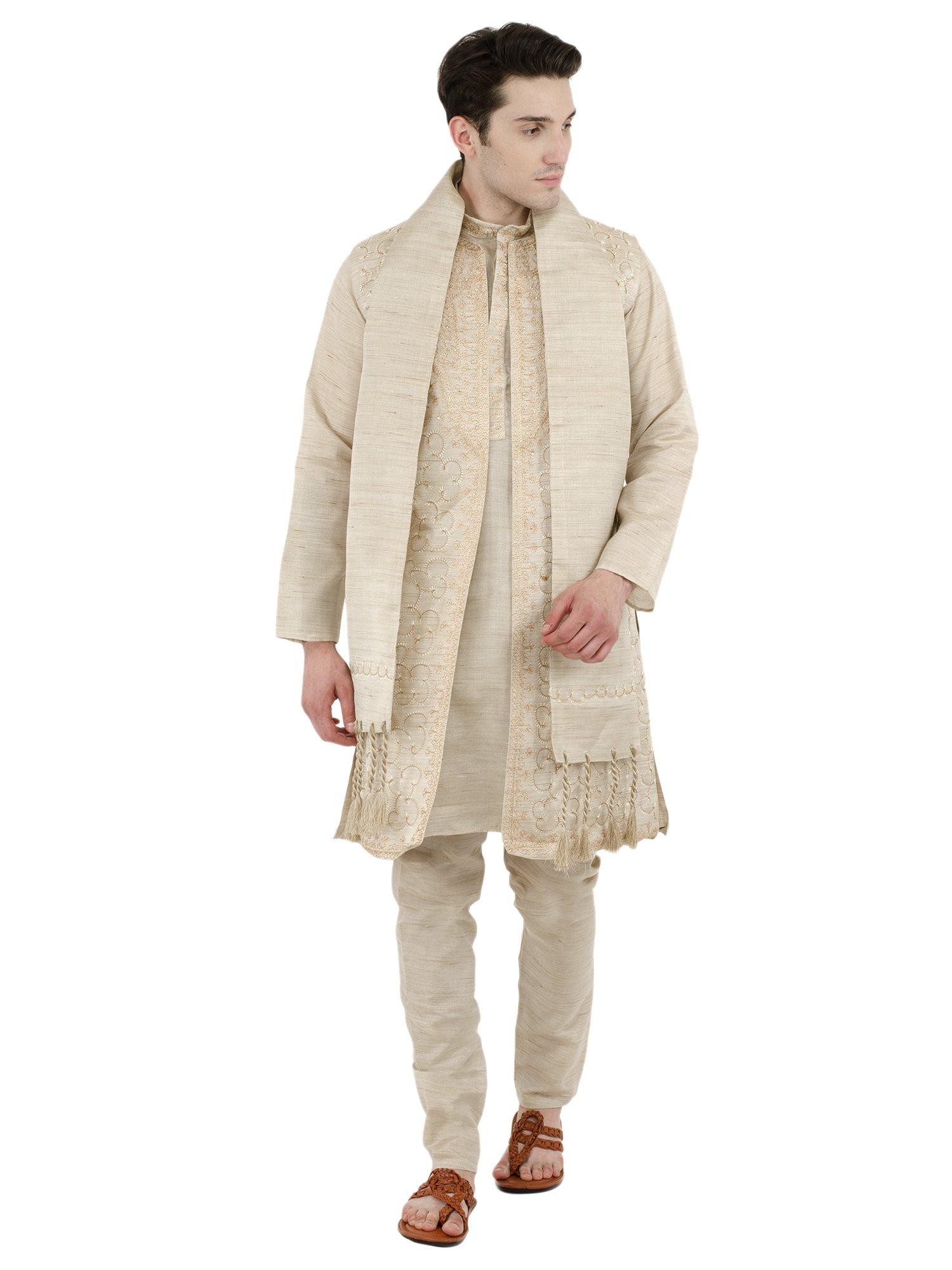 Mens Kurta Pajama Sherwani Stole 4-Pieces Set Indian Pyjama Offwhite Wedding Sherwani -S