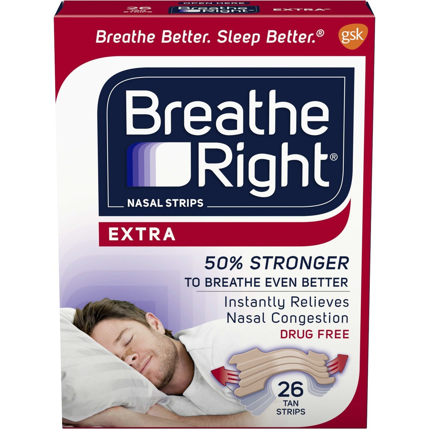 Breathe Right Extra Strength Clear Drug-Free Nasal Strips for Congestion Relief, 26 count - Pack of 5