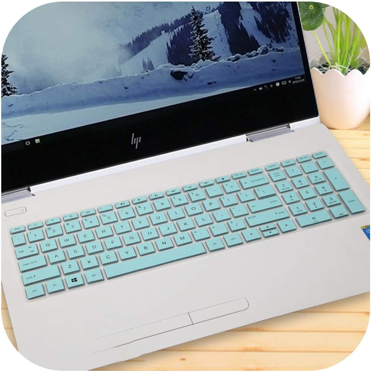 15.6 Inch Laptop Keyboard Cover Protector for Hp Pavilion 250 G6 255 G6 256 G6 258 G6 T Notebook Pc-Fadegreen