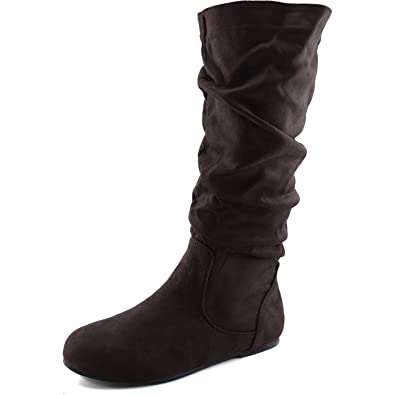 aeec10bf210d Women s Mid Calf Slouch Faux Suede Comfortable Slip On Round Toe Flat Heel  Knee High Boots