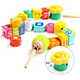 TOP BRIGHT Wooden Lacing Block Beads, Early Math Learning Games, Numbers and Shapes Learning Toys for Kids Ages 18…