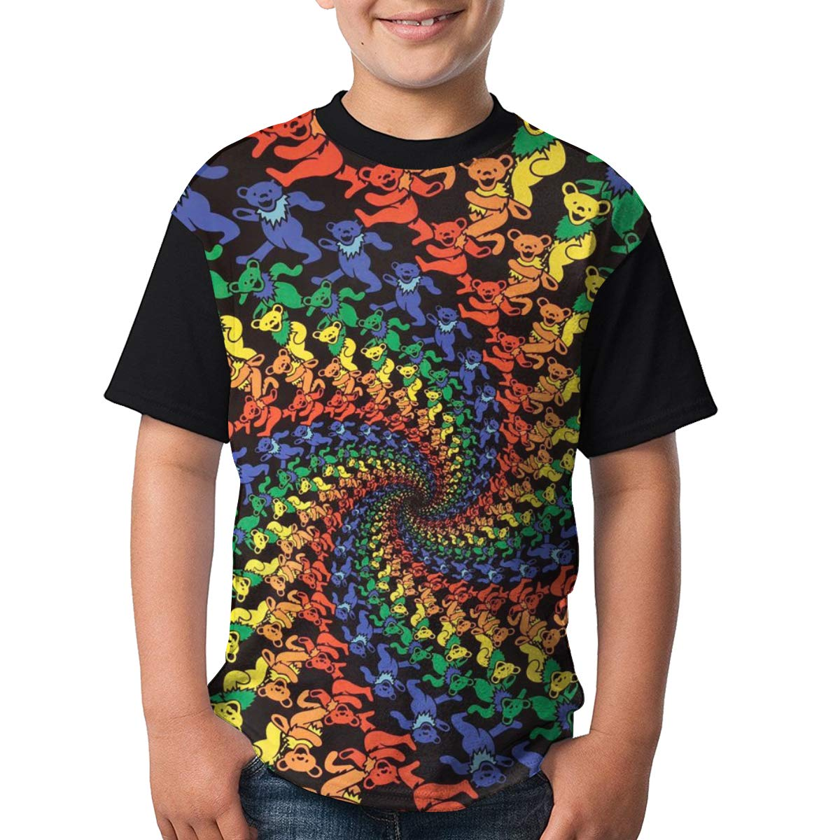 HH88XIAO66A Youth Ancing Bears 3D Print T-Shirts for Boys Girls Short Sleeve Tops Tees