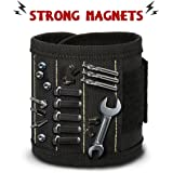Magnetic Wristband,Drillpro Magnetic Tool Wrist Belt/Magnetic Tool Pouches/Magnetic Tool Belt with 10 Powerful Magnets for Holding Tools,Screws,Nails,Bolts,Drill Bits,Screwdriver,Auto Repair Home Projects,DIY,Handyman