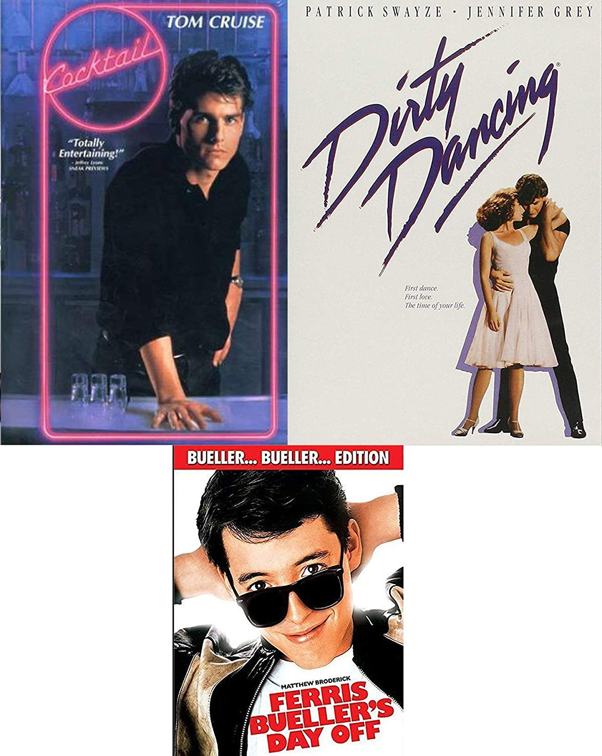 Amazon Com Bars Dance School Days Dirty Dancing Cocktail Tom Cruise Ferris Buellers Day Off 80 S Triple Feature 3 Dvd Set Tom Cruise Patrick Swayze Matthew Broderick Movies Tv