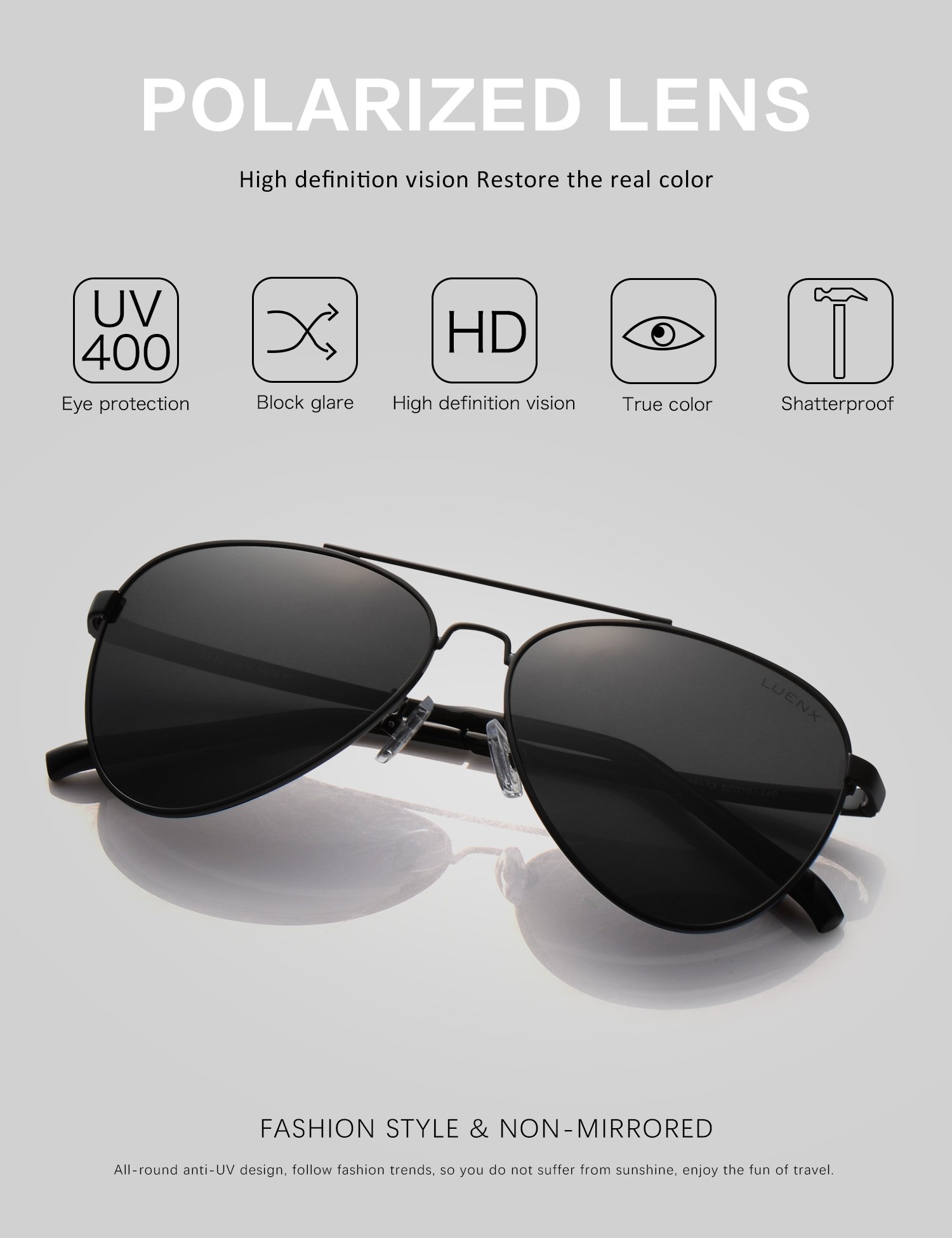 0dce4a9397 LUENX Men Women Aviator Sunglasses Polarized Non-Mirror Black Lens Black  Metal Frame with Accessories UV 400 Protection 60MM