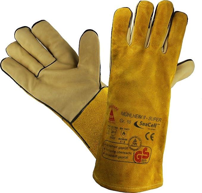 Prof Guantes Trabajo Guantes Seguridad para soldadores MÜHLHEIM-II-SUPER Amarillo - Talla: