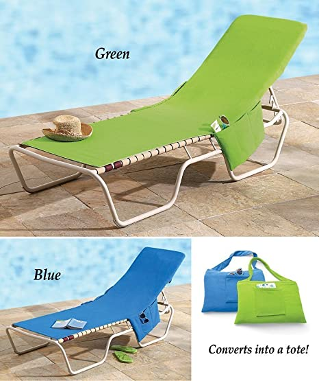 Superbe 2 In 1 Terry Cloth Lounge Chair Cover And Tote   Blue