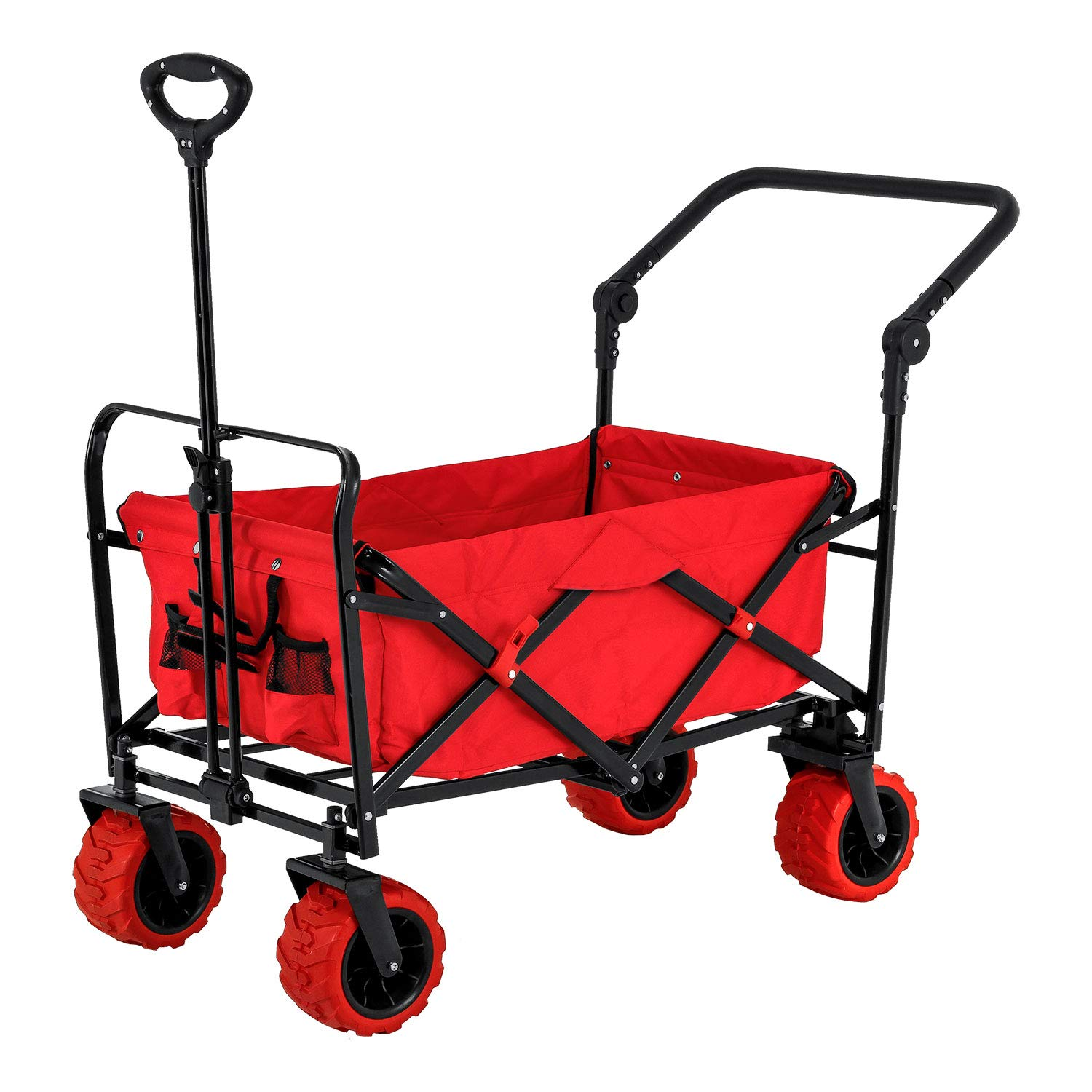 Red Wide Wheel Wagon All Terrain Folding Collapsible Utility Wagon with Push Bar - Portable Rolling Heavy Duty 265 Lbs. Capacity Canvas Fabric Cart Buggy - Beach, Garden, Sporting Events, Park, Picnic