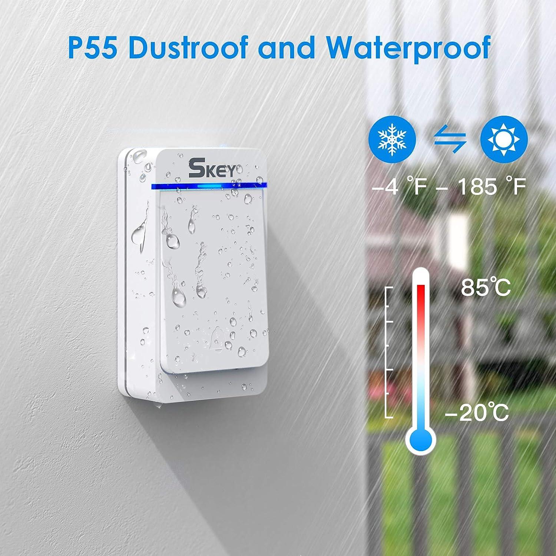 Wireless Doorbell 38 Chimes Door Bells Wireless Cordless with Socket 5-Level Volume and LED Indicator IP55 Waterproof Doorbell with 1 Transmitter and 2 Receivers 300M Range